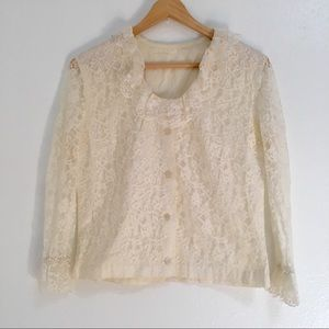 Vintage 1960s White Lace Collared Button Up Shirt